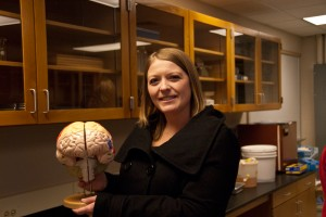 donna talarico holding brain model