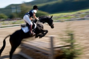 blurred image of woman on horse jumping over fence