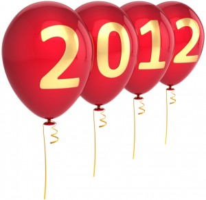 four balloons that together spell out 2012