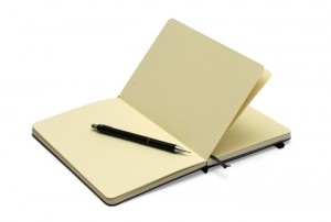 open moleskine with blank unlined pages