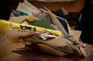 pile full of crumpled college brochures