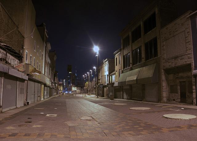 baltimore seedy-looking street at night