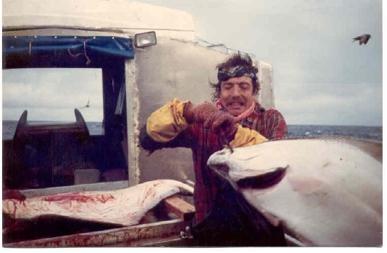 john unger fishing boat with large fish in Alaska