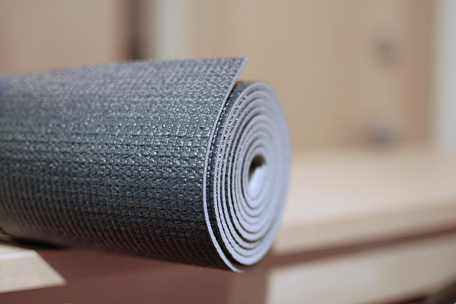 yoga mat rolled up