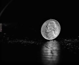 nickel heads-up on black background