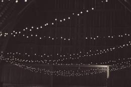 white christmas lights on a barn