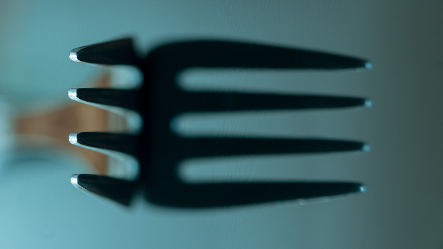 close up of fork and its bigger shadow