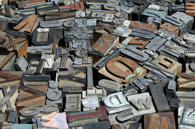 pile of letter press letters
