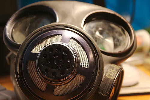 close up of gas mask